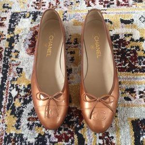 Chanel ballet flats Beige Fonce Patent size 39.5